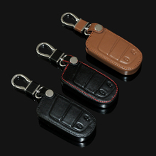 New design Genuine Leather car key cover  For Jeep Grand Cherokee Dodge JCUV dart Journey Chrysler 300C Fiat ,2 Buttons smart