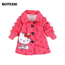 In stock! 2015 Fashion Children's coats girls Hello Kitty winter warm coat children cotton jacket thick cotton-padded clothes