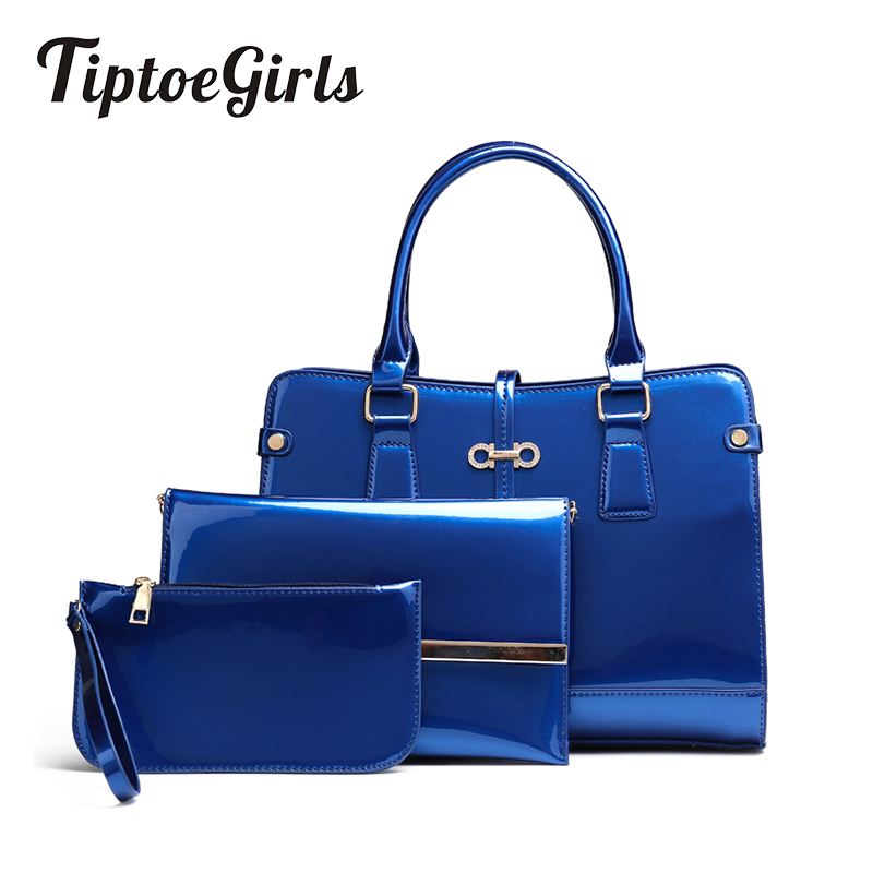 New European and American Fashion Women Bag Bright Nourished Three-Piece Portable Shoulder Bag Simple Oblique Cross Package Tide<br>