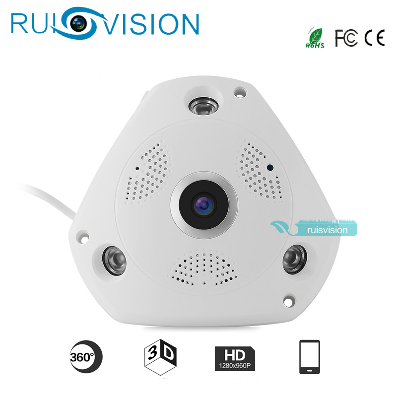 NEW HD1.3MP/960P 360Degree Fisheye Panoramic Camera HD Wireless VR Panorama IP camera P2P Indoor Security WiFi Cam free shipping<br>