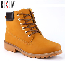 ROXDIA Faux Suede 가죽 Men Boots 봄 Autumn 및 겨울 Man Shoes 발목 Boot Men's 눈 슈 Work Plus size 39-46 RXM560(China)