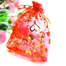 25Pcs/pack  10*12cm Organza Colorful Drawstring Heart  Pouch Candy Gift Bag Christmas Wedding Party Supplies