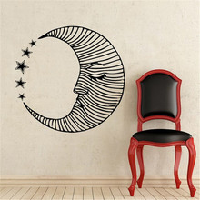 Beauty Moon Face Art Design Creative Wall Decals Bedroom Nursery Room Fashion Decorative Wall Mural Moon Pattern With Stars(China)
