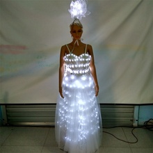 Led Luminous Party Dress LED Light Up Growing Ballroom Costume Stage Suit For Club Bar Christmas Wedding Decoration