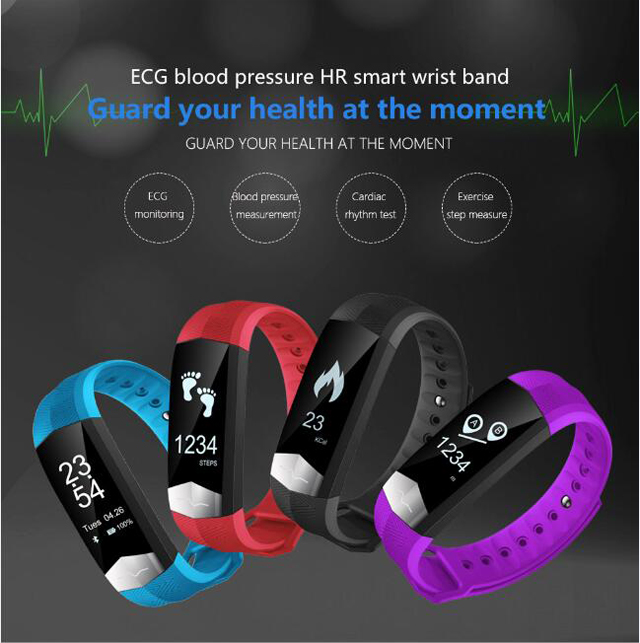 CD01 Graphene ECG HeartRate Blood Pressure Smart Bracelet for iphone Android Sleep Pedometer Activity Tracker Call SMS Reminder 1