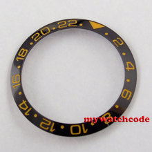 black ceramic bezel insert yellow make for GMT watch made by parnis factory B10(China)