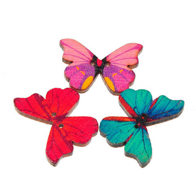 50pcs/Lot Colroful 2 Holes Mixed Butterfly Wooden Buttons Sewing Scrapbooking DIY Craft Button