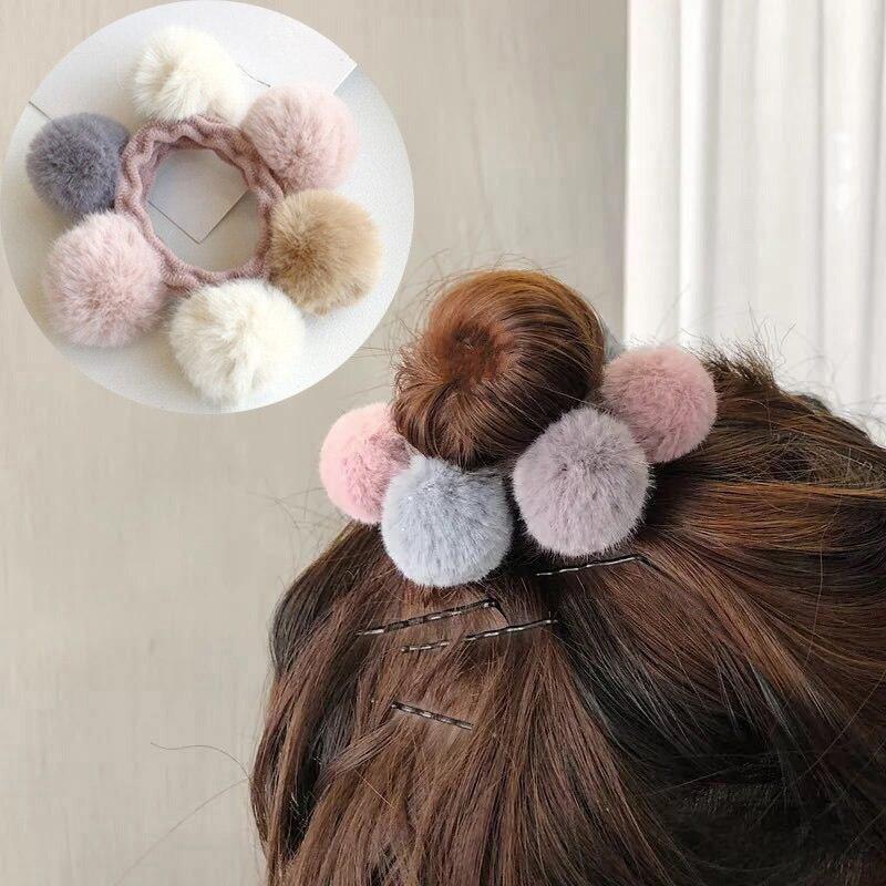 Women PomPom Ball Elastic Hair Rope Ring Tie Scrunchie Ponytail Holder Hairband