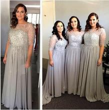 2016 New Long Bridesmaid Dress Sparkling Beaded Crystal A line Long Cheap Chiffon Maid of Honor Dress Wedding Party Gowns