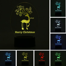 Novelty Merry Christmas Deer Creative 3D Night Light Touch 7 Color Changeing Colorful Child Kids Christmas Presents Bedside Lamp(China)