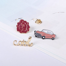 Free shipping Rose Flower Car Cool Metal Enamel Brooch Pin Button Pin Jeans Bag Decoration Wholesale