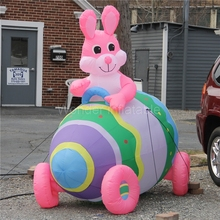10FT Long Giant Pink Inflatable Easter Bunny In Colorful Egg Car For Easter Decoration All Included Free shipping