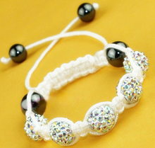 GOOD!irgfd micro pave CZ Disco Ball Beads Crystal Shamballa Bracelet nice kids Gift jewelry Discount.(China)