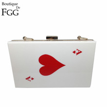 Women's Fashion Brand Evening Wedding Party Prom Casino Acrylic Handbags Bags Clutch Red Heart Poker Dinner Metal Clutches Purse(China)