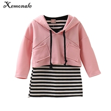 Xemonale baby spring&autumn  Clothing Sets Baby Girl's  Clothing Sets  Kid Apparel set Striped Dress +jacket  free shipping