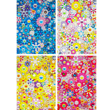 6 PCS Murakami Takashi Works Sun Flowers (Group III) Print Oil Painting on Cotton Canvas Painting Abstract Wall Art