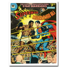 Superman vs Muhammad Ali Art Silk Poster Fabric Print 12x16 24x32 inches 1978 Vintage Superheroes Wall Picture Room Decor