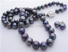 "new fashion Jewelry Sets 7-8mm Black Akoya Cultured Pearl Necklace Earring Natural Stone 17""BV49 Wholesale Price"