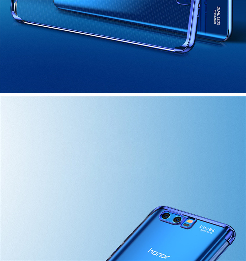 transparent plating soft silicone tpu case cover for huawei honor 9 8 pro  10