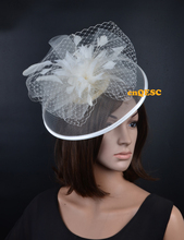 Ivory feather fascinator crin fascinator sinamay base formal hat with veiling for wedding party kentucky derby Races Ascot Races(China)