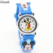 3D Cartoon Lovely Kids Girls Boys Children Students Quartz Wrist Watch Very Popular watches Minnie mouse style(China)