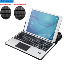 For Samsung Galaxy Tab A 10.1 P580 P585 Removable Aluminum Bluetooth Touchpad Russian/Spanish Keyboard+Pu Leather Case Stand