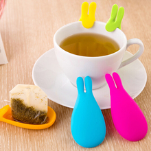 Silicone Tea Bag Infuser Holder Random Candy Color Mug Gift Rabbit Silicon Tea Bag stand Gel Rabbit Shape