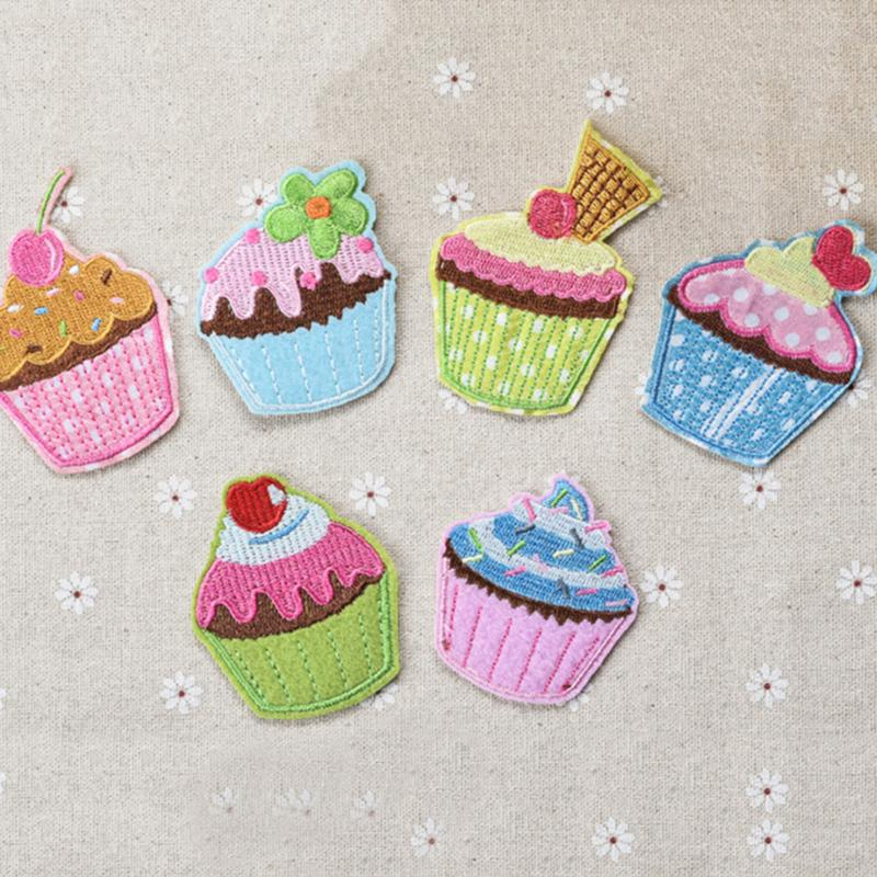 NEW Cartoon Ice Cream Lin Cake Center Cloth Iron On Patches Ironing Felt Applique Clothes Embroidery Wholesale