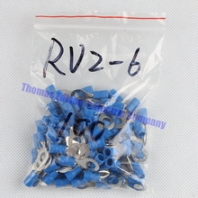 RV2-6 Blue Ring insulated terminal Cable Wire Connector 100PCS/Pack suit 1.5-2.5mm Electrical Crimp Terminal RV2.5-6 RV