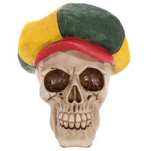 1Piece Resin Skull Ornament Rasta Hat Human Skeleton Head Figurine Horror Skulls Statue Rastafarian