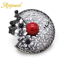 Ajojewel Trendy Black Rhinestone Flower Brooch Pins Cute Red Simulated Pearl Broches Vintage Jewelry Women Accessories(China)