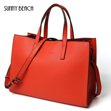 SUNNY BEACH Elegant Women Genuine Leather Bag Spring Everyday Bags Office Lady Handbag Real Leather Luxury Designer Tote Bags(China)