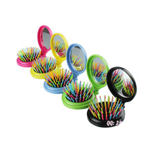 1Pc Portable Beauty Mini Mirror Folding Comb Airbag Massage Round Hair ( Random Color ) Smrp(China)