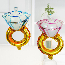 2pcs/lot Mini Diamond Ring Aluminum Foil Balloons Inflatable Helium Globos Wedding Decoration Marriage Valentine Party Supplies