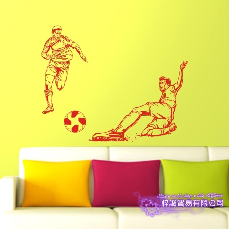 DCTAL Football Player Sticker Football Game Soccer Decal Helmets Kids Room Posters Vinyl Wall Decals F2