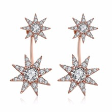 The Bright Zircon Two Star Design Rose Gold Plating Copper Earring Stud Very Popular Best Gift(China)
