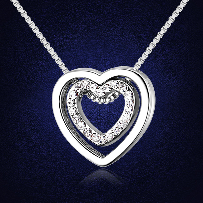 2017 Double Heart Necklaces Pendants Crystals from Swarovski Jewelry Gifts For Valentine's Day(China (Mainland))
