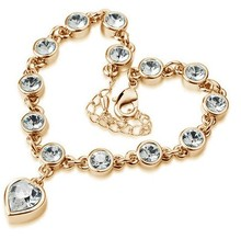 New Arrival Hotselling Factory wholesales Fashion Brand Name hot popular Heart Austrian crystal Charm bracelet jewelry