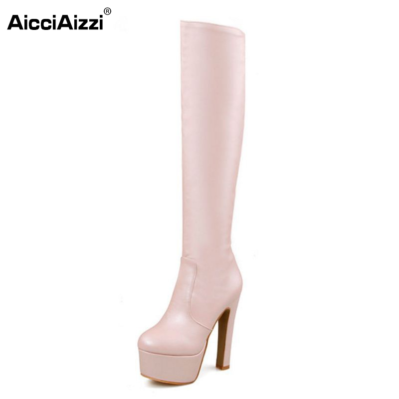 Shoes Women Boots Thigh High Boots Over The Knee Boots Round Toe Platform Thick High Heels Boot Ladies Footwear Size33-40<br>