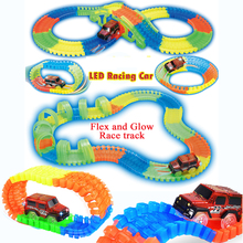 Slot DIY assemble Flex Glow electric race track with 1PC Electric LED Light Up Race Rail Car Vehicles Educational Toys for Kids(China)