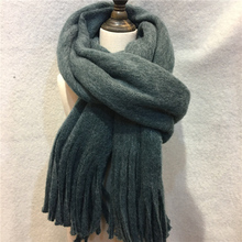 British Style Solid Cashmere Scarf Women Long Tassel Wrap Shawl Brand Plain Thick Wram Warp Scarves And Shawls With Fringe YG478(China)