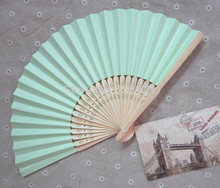 Free Shipping 10pcs/lot 21cm Pink Color Paper Hand Fan Wedding Party Favor Promotion Gift(China)