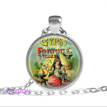 1 pcs Gypsy Fortune teller Necklace Tibet silver Cabochon glass pendant chain Necklace(China)