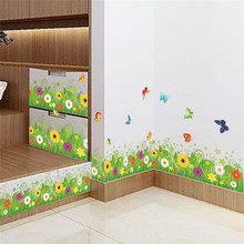 % spring colorful flower grass butterfly Clover Skirting Line Flora diy home decal wall sticker Furniture kitchen wedding mural(China)