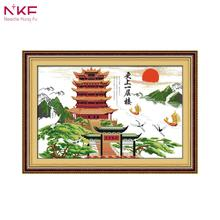 NKF 14ct 11ct Счетный и печатью Китай желтый башенный кран рукоделие Вышивка DIY вышивки крестом для украшения дома F096(China)
