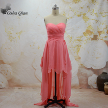New Design High Low Bridesmaid Dress Dama de honra Formal Wear Sweetheart Robe demoiselle d honneur femme Chiffon Party Gown(China)