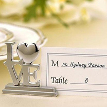Wedding accessory of Silver LOVE Place Card Holders 40pcs/lot Party gifts Wedding banquet table decor HOT Sale Free shipping