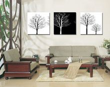 Unframed 3 sets Canvas Painting White Black Trees Art Cheap Picture Home Decor On Canvas Modern Wall Prints Artworks Living Room
