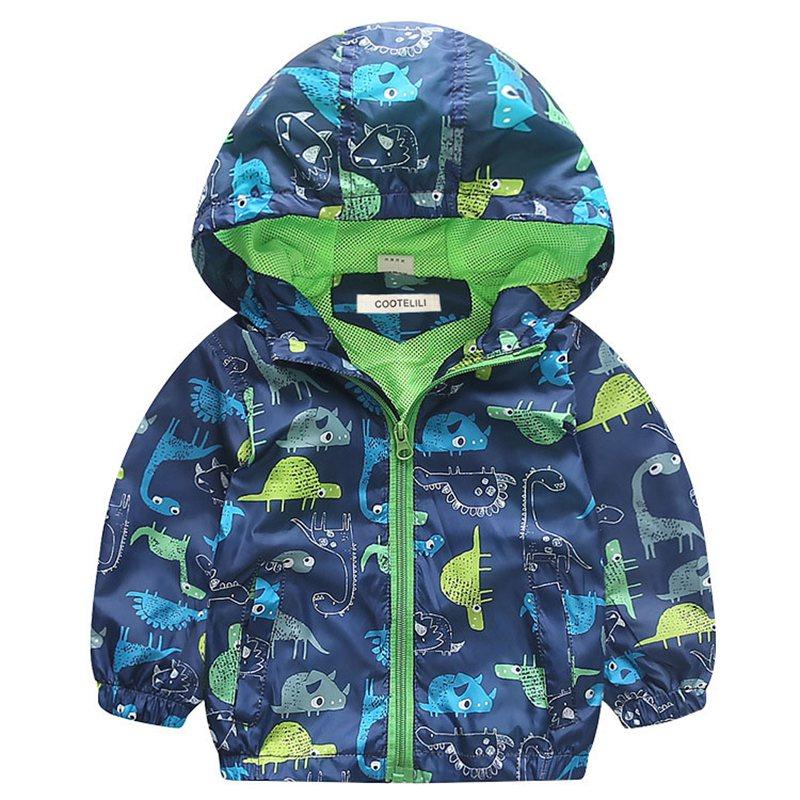 COOTELILI 80-120cm Spring Autumn Dinosaur Windbreaker Kids Jacket Boys Outerwear Coat Hooded Baby Clothing For Boys (7)