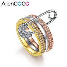 ALLENCOCO Crystal Bridal AAA Paved Zircon Rinestone Copper Rings Three Finger Rings With Pin Anillos Anel Pieces for Women Gift(China)